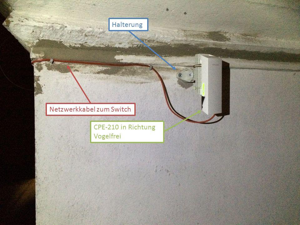 CPE-210 in Richtung Vogelfrei Halterung Netzwerkkabel zum Switch