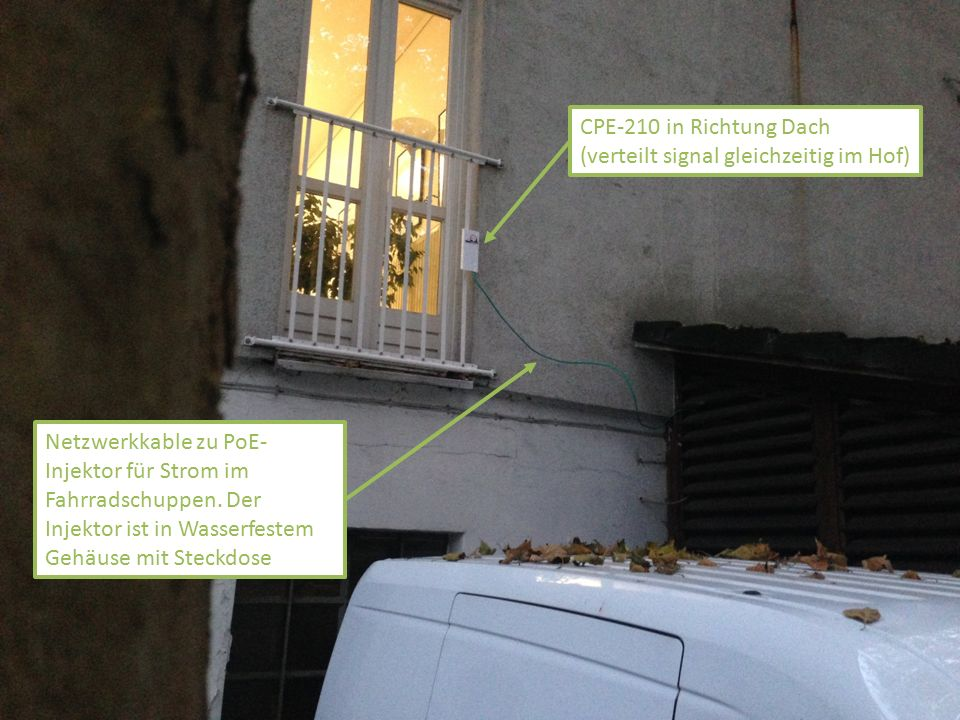 CPE-210 in Richtung Dach (verteilt signal gleichzeitig im Hof) Netzwerkkable zu PoE- Injektor für Strom im Fahrradschuppen. Der Injektor ist in Wasser