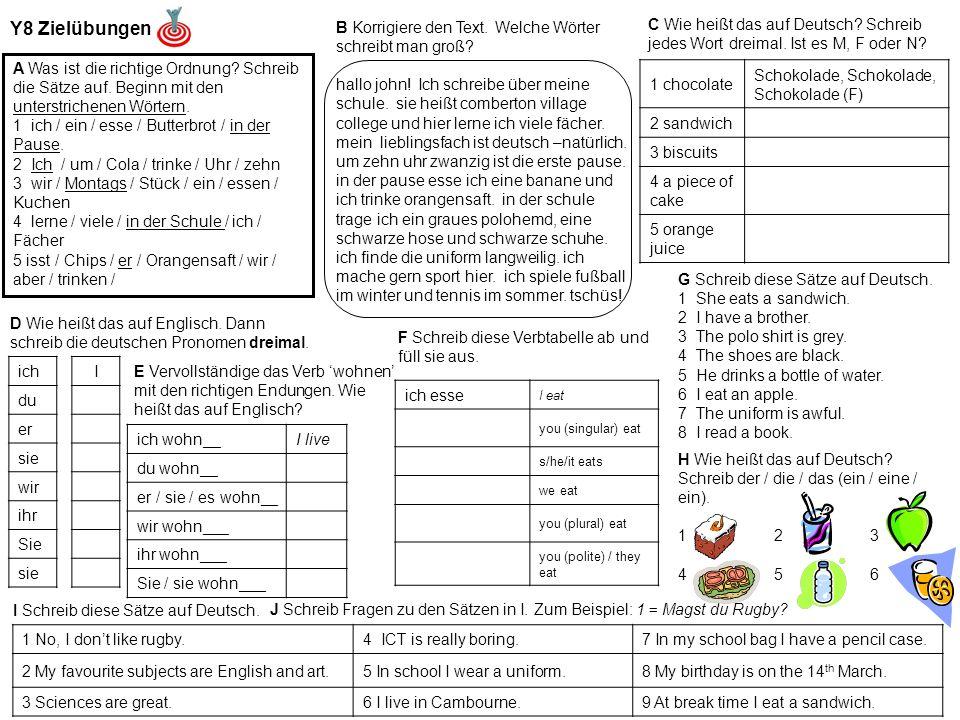 Y8 Zielübungen A Was ist die richtige Ordnung. Schreib die Sätze auf.