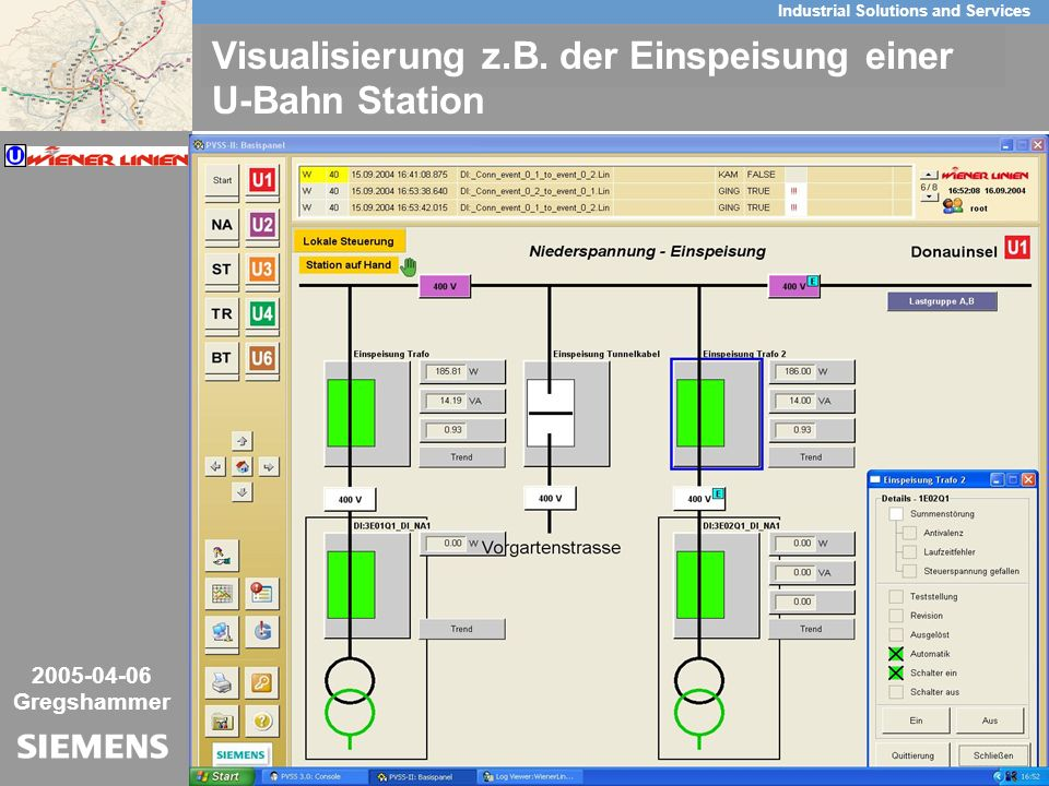 10/26 Industrial Solutions and Services Key-Visual 2005-04-06 Gregshammer Visualisierung z.B. der Einspeisung einer U-Bahn Station