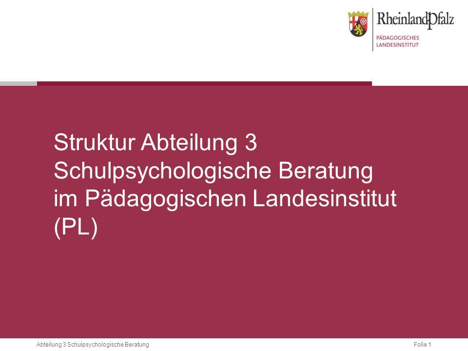 Folie 1Abteilung 3 Schulpsychologische Beratung Struktur Abteilung 3 Schulpsychologische Beratung im Pädagogischen Landesinstitut (PL)