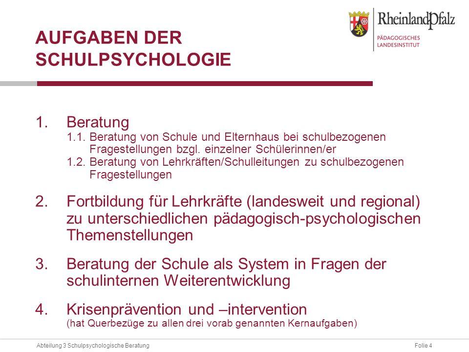 Folie 4Abteilung 3 Schulpsychologische Beratung AUFGABEN DER SCHULPSYCHOLOGIE 1.Beratung 1.1. Beratung von Schule und Elternhaus bei schulbezogenen Fr