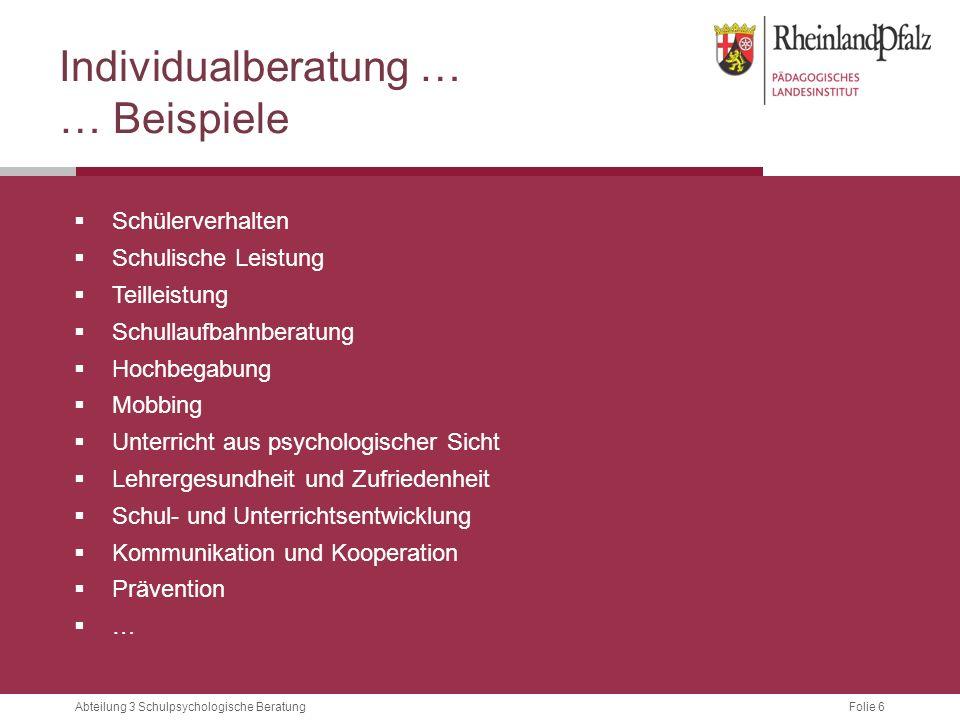 Folie 6Abteilung 3 Schulpsychologische Beratung Individualberatung … … Beispiele  Schülerverhalten  Schulische Leistung  Teilleistung  Schullaufba