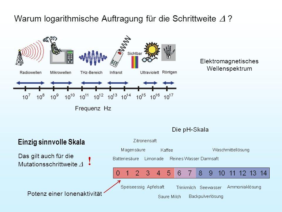 Warum logarithmische Auftragung für die Schrittweite  ? Einzig sinnvolle Skala Das gilt auch für die Mutationsschrittweite  ! Elektromagnetisches W