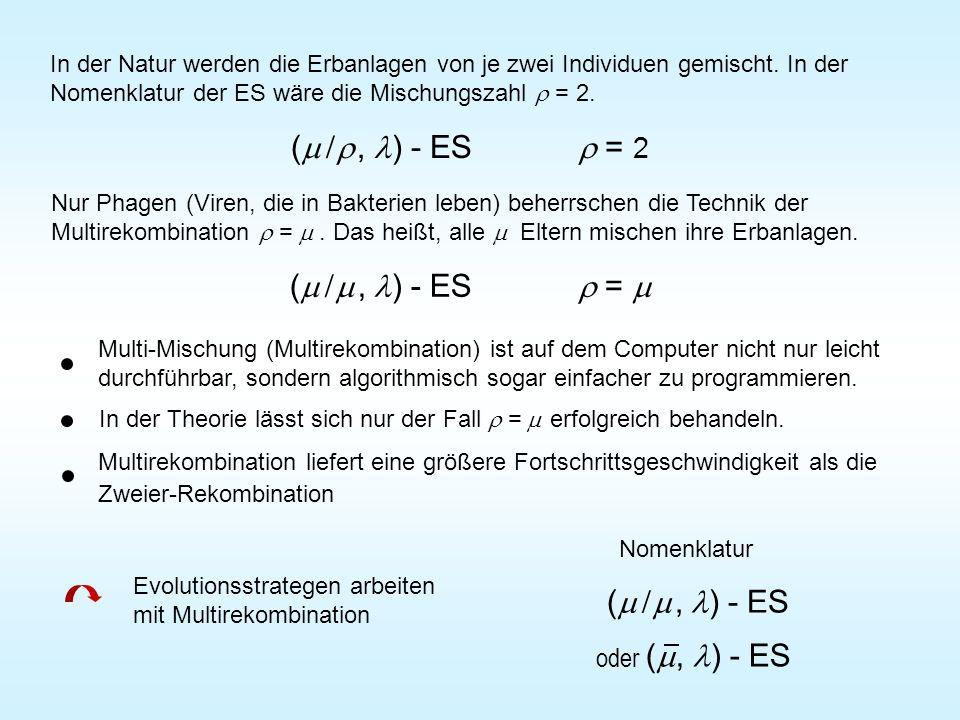 In der Natur werden die Erbanlagen von je zwei Individuen gemischt. In der Nomenklatur der ES wäre die Mischungszahl  = 2. (   , ) - ES  = 2 Nur