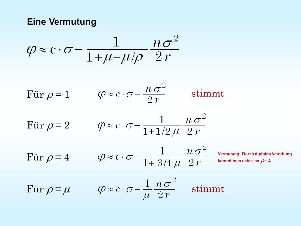 Eine Vermutung Für  = 1 Für  = 2 Für  = 4 Für  =  stimmt Vermutung: Durch diploide Vererbung kommt man näher an  = 4