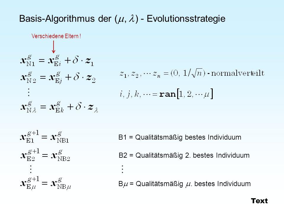 Basis-Algorithmus der (  ,  ) - Evolutionsstrategie B1 = Qualitätsmäßig bestes Individuum B2 = Qualitätsmäßig 2. bestes Individuum B  = Qualitätsm