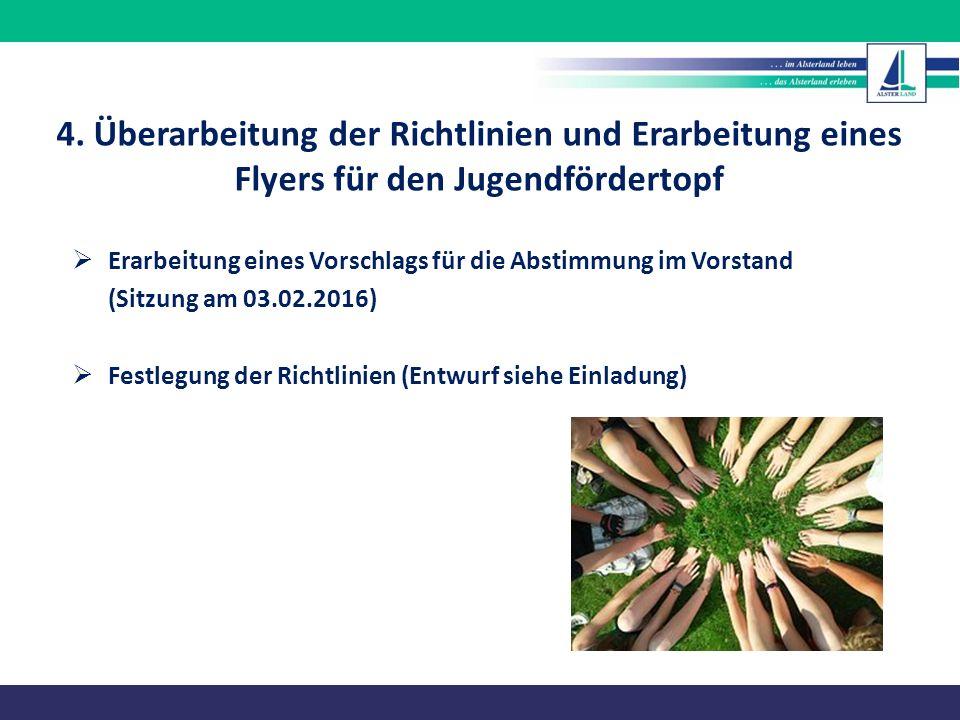  Erarbeitung eines Vorschlags für die Abstimmung im Vorstand (Sitzung am 03.02.2016)  Festlegung der Richtlinien (Entwurf siehe Einladung) 4. Überar