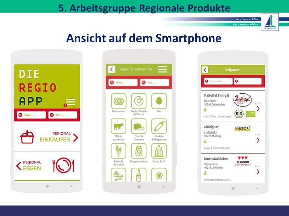 Ansicht auf dem Smartphone 5. Arbeitsgruppe Regionale Produkte