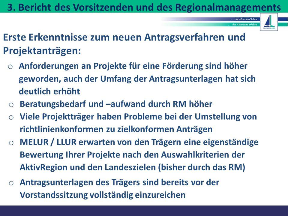 3. Bericht des Vorsitzenden und des Regionalmanagements Erste Erkenntnisse zum neuen Antragsverfahren und Projektanträgen: o Anforderungen an Projekte