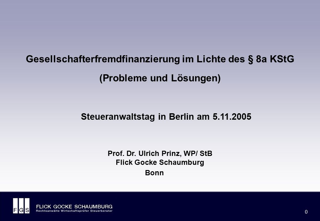 FLICK GOCKE SCHAUMBURG 1 1 Gliederungsübersicht I.Rechtsentwicklung und Grundinhalte des § 8a KStG II.Grundfälle des BMF-Schreibens vom 15.7.2004 III.Einzelheiten zur rückgriffsgesicherten Fremdfinanzierung von Kapitalgesellschaften (BMF-Schreiben vom 22.7.2005) IV.Schwierige Spezialfälle: Holdingregelung des § 8a Abs.