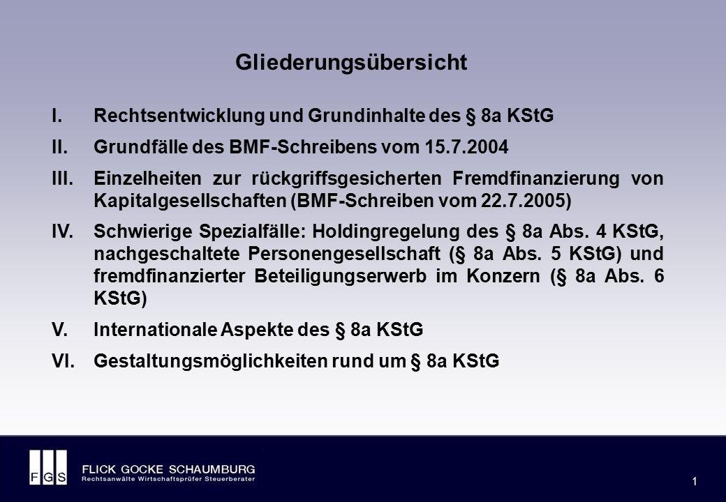 FLICK GOCKE SCHAUMBURG 1 1 Gliederungsübersicht I.Rechtsentwicklung und Grundinhalte des § 8a KStG II.Grundfälle des BMF-Schreibens vom 15.7.2004 III.