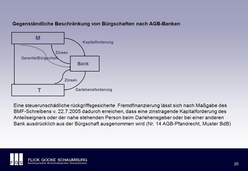FLICK GOCKE SCHAUMBURG 20 M T Bank Gegenständliche Beschränkung von Bürgschaften nach AGB-Banken Darlehensforderung Zinsen Kapitalforderung Zinsen Gar