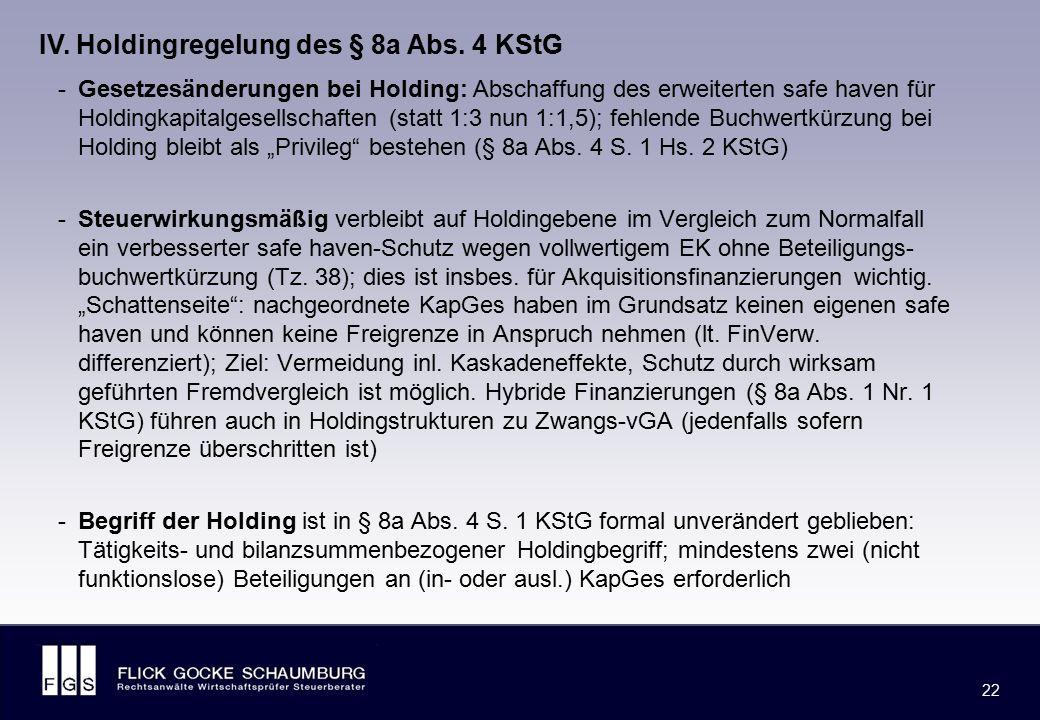 FLICK GOCKE SCHAUMBURG 22 -Gesetzesänderungen bei Holding: Abschaffung des erweiterten safe haven für Holdingkapitalgesellschaften (statt 1:3 nun 1:1,