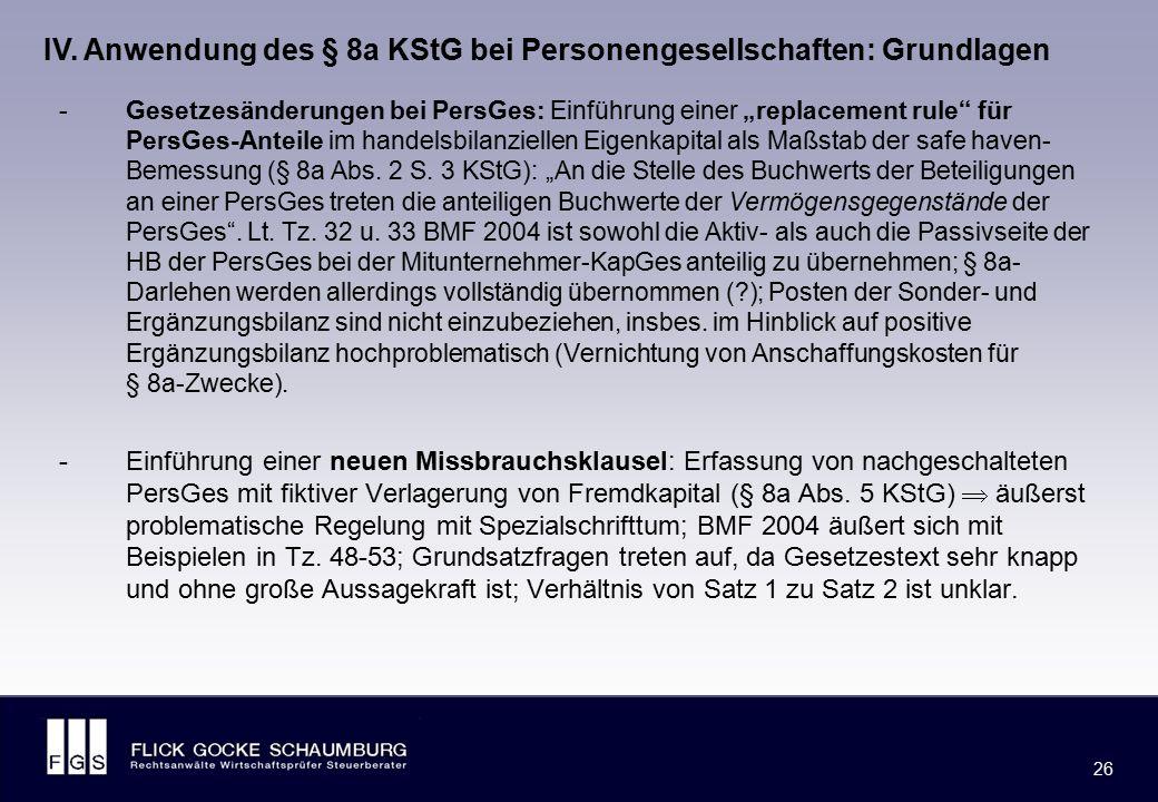 """FLICK GOCKE SCHAUMBURG 26 -Gesetzesänderungen bei PersGes: Einführung einer """"replacement rule"""" für PersGes-Anteile im handelsbilanziellen Eigenkapital"""