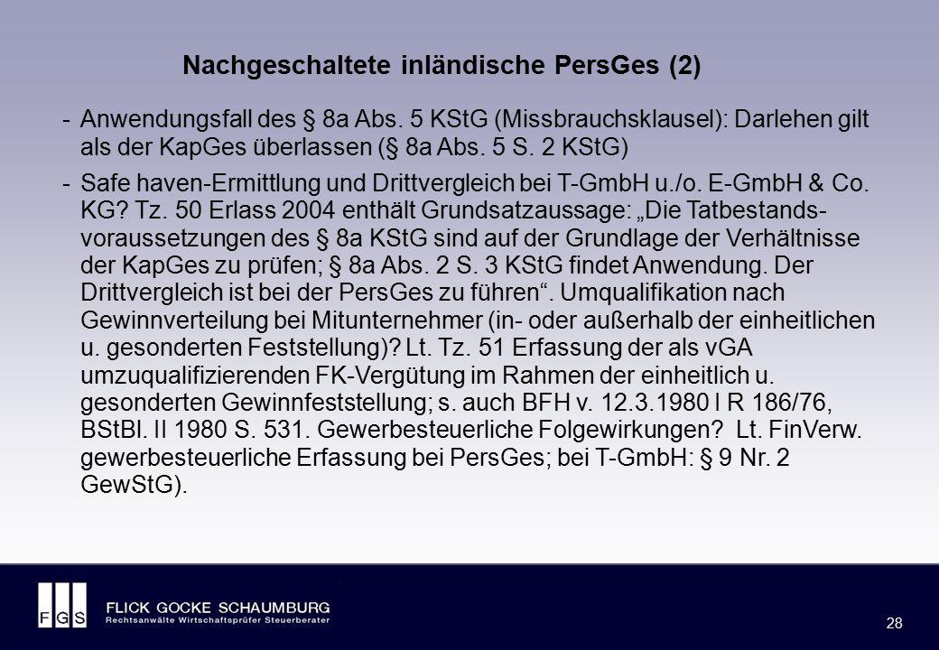 FLICK GOCKE SCHAUMBURG 28 -Anwendungsfall des § 8a Abs. 5 KStG (Missbrauchsklausel): Darlehen gilt als der KapGes überlassen (§ 8a Abs. 5 S. 2 KStG) -