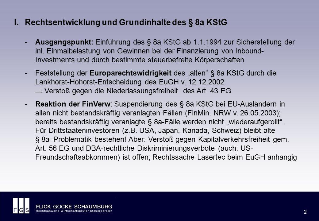 FLICK GOCKE SCHAUMBURG 2 2 -Ausgangspunkt: Einführung des § 8a KStG ab 1.1.1994 zur Sicherstellung der inl. Einmalbelastung von Gewinnen bei der Finan