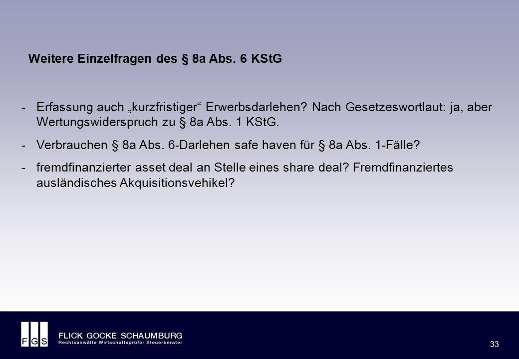 """FLICK GOCKE SCHAUMBURG 33 -Erfassung auch """"kurzfristiger"""" Erwerbsdarlehen? Nach Gesetzeswortlaut: ja, aber Wertungswiderspruch zu § 8a Abs. 1 KStG. -V"""