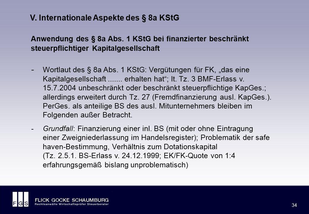 FLICK GOCKE SCHAUMBURG 34 V. Internationale Aspekte des § 8a KStG Anwendung des § 8a Abs. 1 KStG bei finanzierter beschränkt steuerpflichtiger Kapital