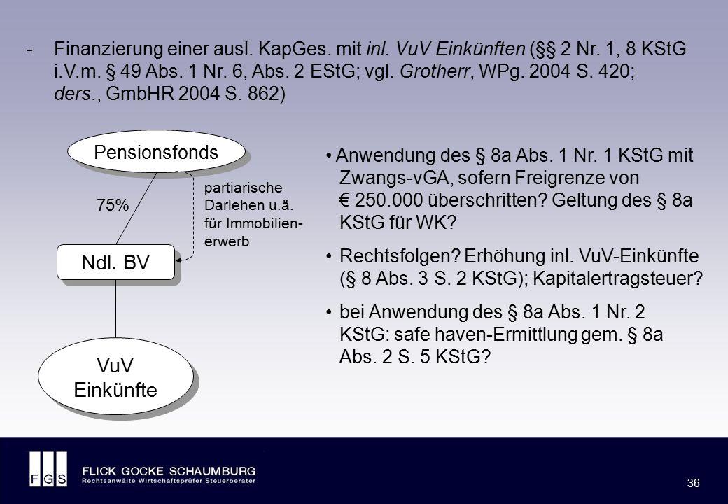 FLICK GOCKE SCHAUMBURG 36 Anwendung des § 8a Abs. 1 Nr. 1 KStG mit Zwangs-vGA, sofern Freigrenze von € 250.000 überschritten? Geltung des § 8a KStG fü