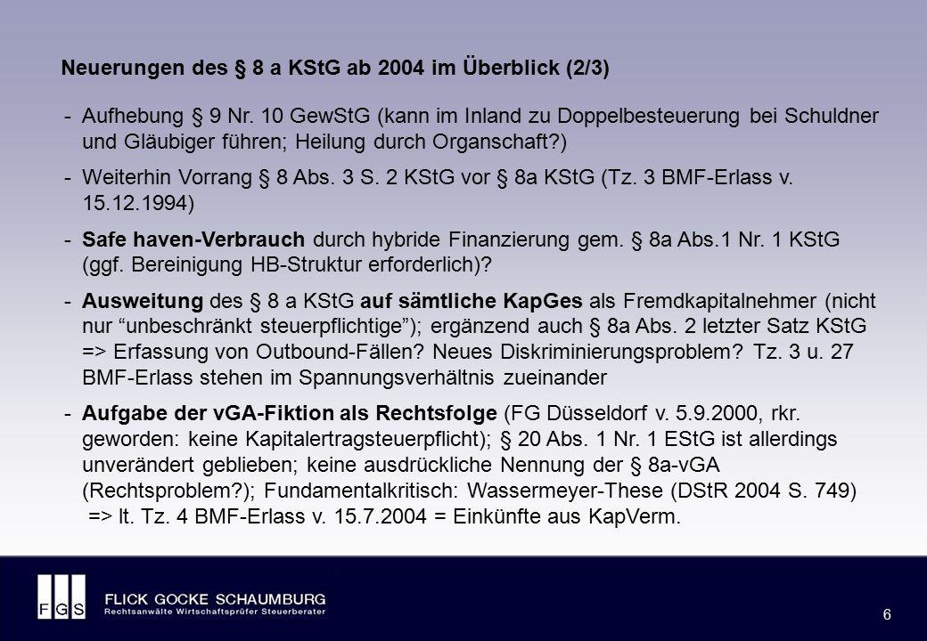 FLICK GOCKE SCHAUMBURG 7 7 -Kurzfristige Darlehen werden von § 8 a KStG ausgenommen (Tz.