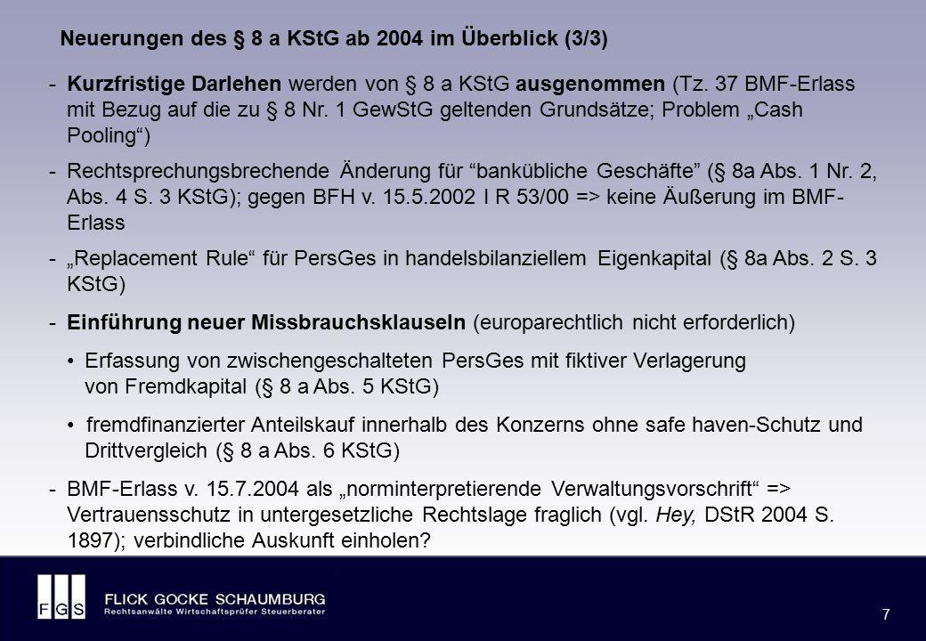 FLICK GOCKE SCHAUMBURG 7 7 -Kurzfristige Darlehen werden von § 8 a KStG ausgenommen (Tz. 37 BMF-Erlass mit Bezug auf die zu § 8 Nr. 1 GewStG geltenden