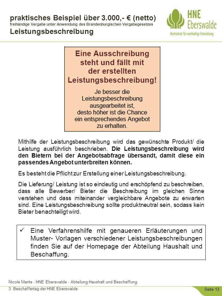 Nicole Mante · HNE Eberswalde · Abteilung Haushalt und Beschaffung 3. Beschaffertag der HNE Eberswalde Seite 13 praktisches Beispiel über 3.000,- € (n