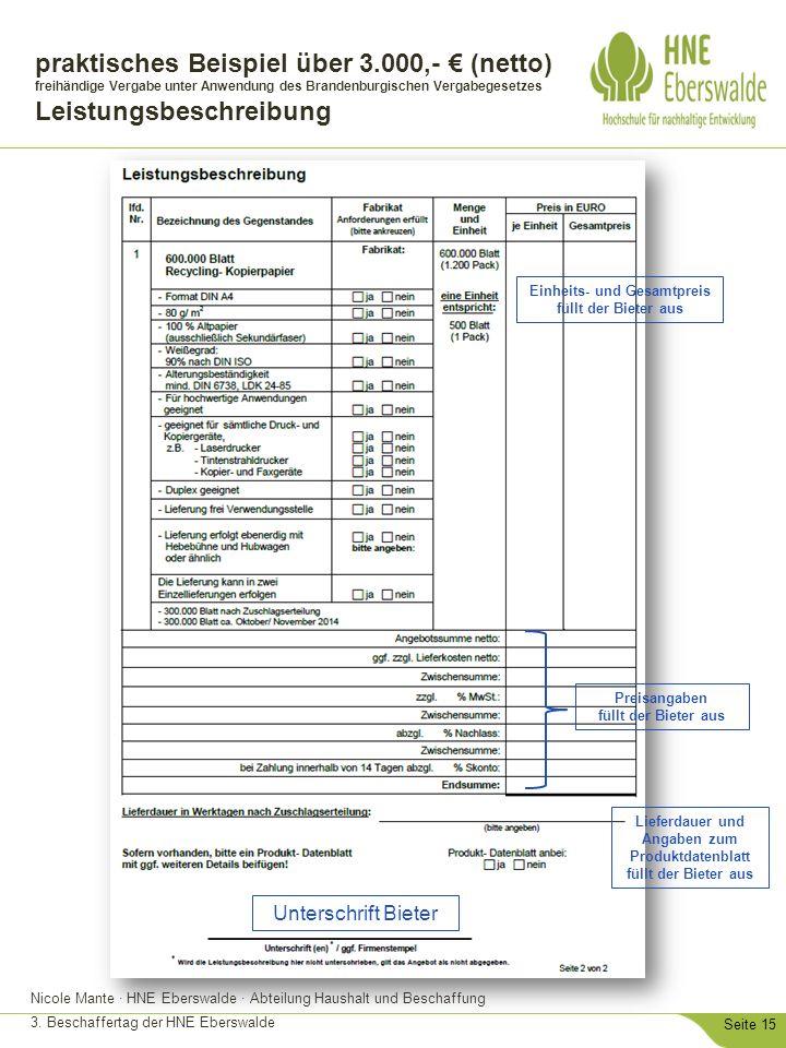 Nicole Mante · HNE Eberswalde · Abteilung Haushalt und Beschaffung 3. Beschaffertag der HNE Eberswalde Seite 15 praktisches Beispiel über 3.000,- € (n