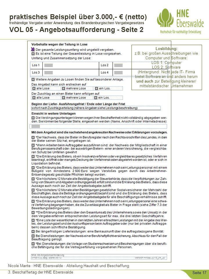 Nicole Mante · HNE Eberswalde · Abteilung Haushalt und Beschaffung 3. Beschaffertag der HNE Eberswalde Seite 17 praktisches Beispiel über 3.000,- € (n