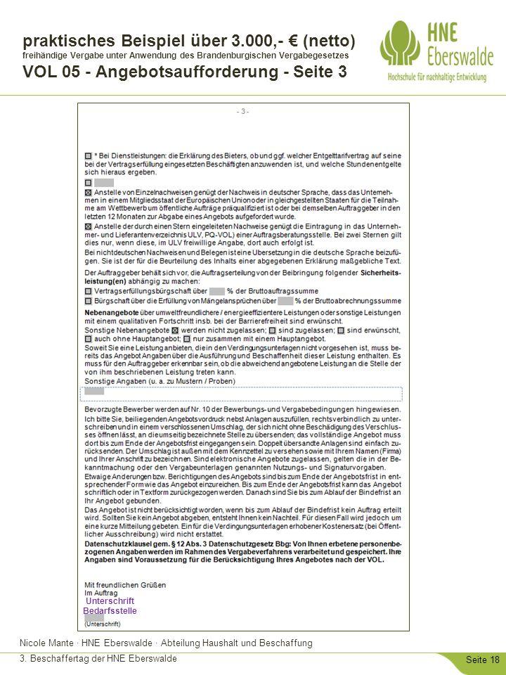 Nicole Mante · HNE Eberswalde · Abteilung Haushalt und Beschaffung 3. Beschaffertag der HNE Eberswalde Seite 18 praktisches Beispiel über 3.000,- € (n