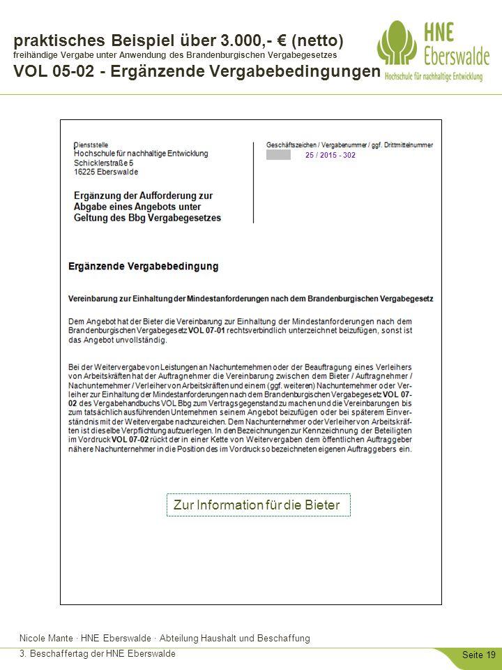 Nicole Mante · HNE Eberswalde · Abteilung Haushalt und Beschaffung 3. Beschaffertag der HNE Eberswalde Seite 19 praktisches Beispiel über 3.000,- € (n