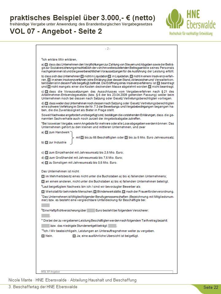 Nicole Mante · HNE Eberswalde · Abteilung Haushalt und Beschaffung 3. Beschaffertag der HNE Eberswalde Seite 22 praktisches Beispiel über 3.000,- € (n