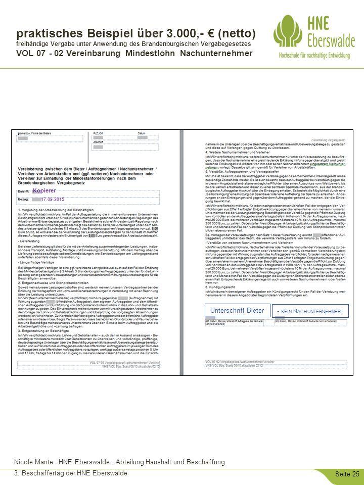 Nicole Mante · HNE Eberswalde · Abteilung Haushalt und Beschaffung 3. Beschaffertag der HNE Eberswalde Seite 25 praktisches Beispiel über 3.000,- € (n