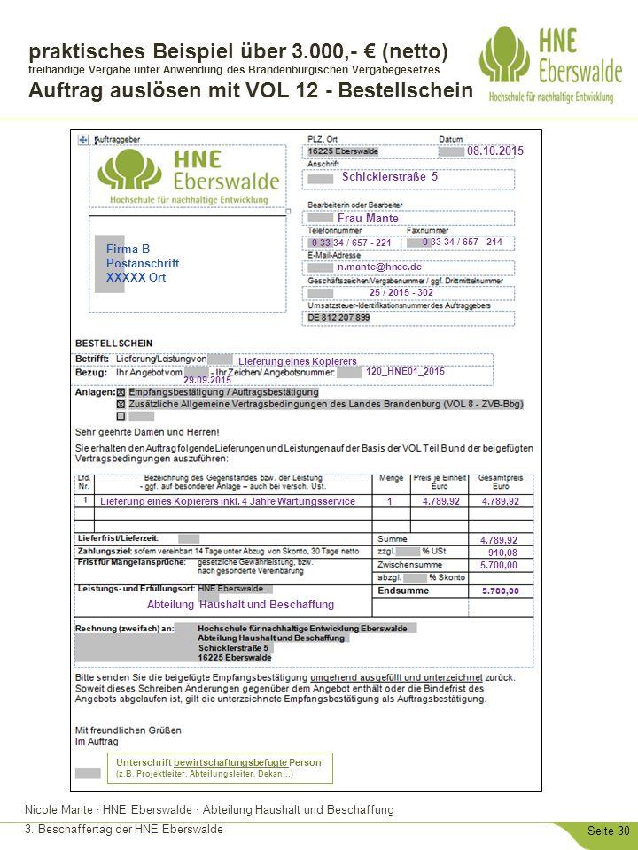 Nicole Mante · HNE Eberswalde · Abteilung Haushalt und Beschaffung 3. Beschaffertag der HNE Eberswalde Seite 30 praktisches Beispiel über 3.000,- € (n