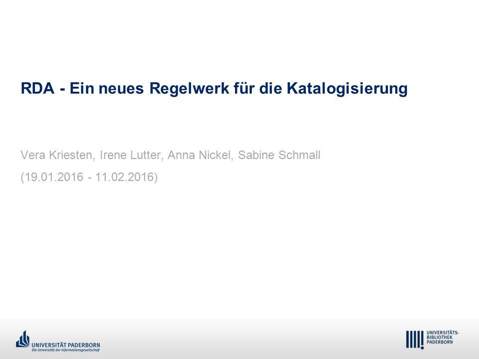 1 - Dr. Dietmar Haubfleisch – Die aktuellen Empfehlungen der DFG und des WR … – DBV, Sektion IV-Sitzung am 26.10.211 RDA - Ein neues Regelwerk für die