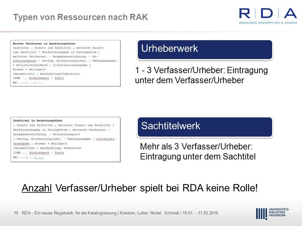 10 - Dr. Dietmar Haubfleisch – Die aktuellen Empfehlungen der DFG und des WR … – DBV, Sektion IV-Sitzung am 26.10.211 10 RDA - Ein neues Regelwerk für