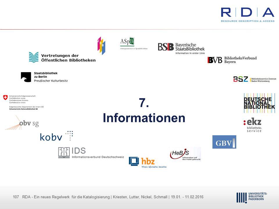 107 - Dr. Dietmar Haubfleisch – Die aktuellen Empfehlungen der DFG und des WR … – DBV, Sektion IV-Sitzung am 26.10.211 107 RDA - Ein neues Regelwerk f