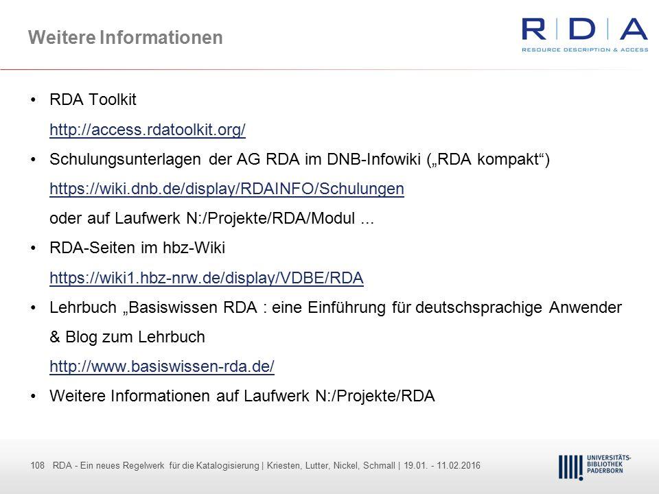 108 - Dr. Dietmar Haubfleisch – Die aktuellen Empfehlungen der DFG und des WR … – DBV, Sektion IV-Sitzung am 26.10.211 108 RDA - Ein neues Regelwerk f