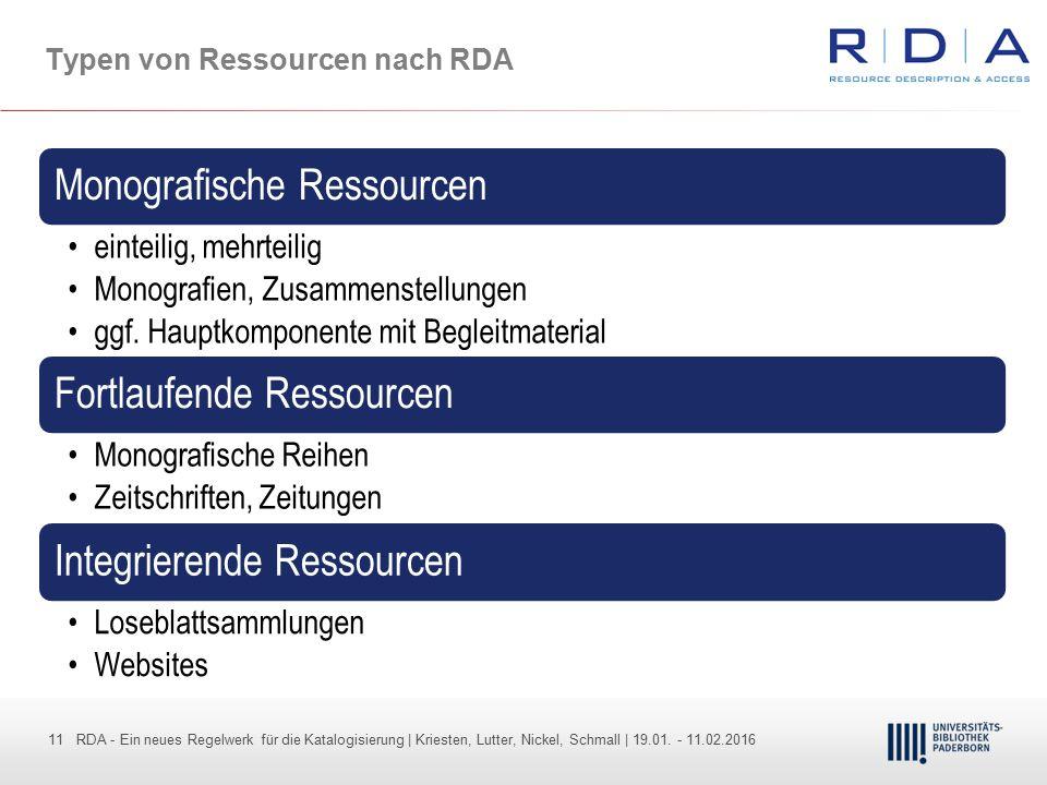 11 - Dr. Dietmar Haubfleisch – Die aktuellen Empfehlungen der DFG und des WR … – DBV, Sektion IV-Sitzung am 26.10.211 11 RDA - Ein neues Regelwerk für