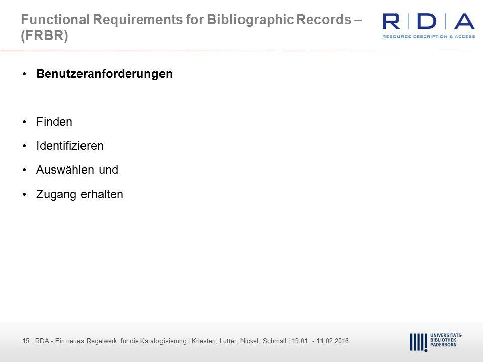 15 - Dr. Dietmar Haubfleisch – Die aktuellen Empfehlungen der DFG und des WR … – DBV, Sektion IV-Sitzung am 26.10.211 15 RDA - Ein neues Regelwerk für