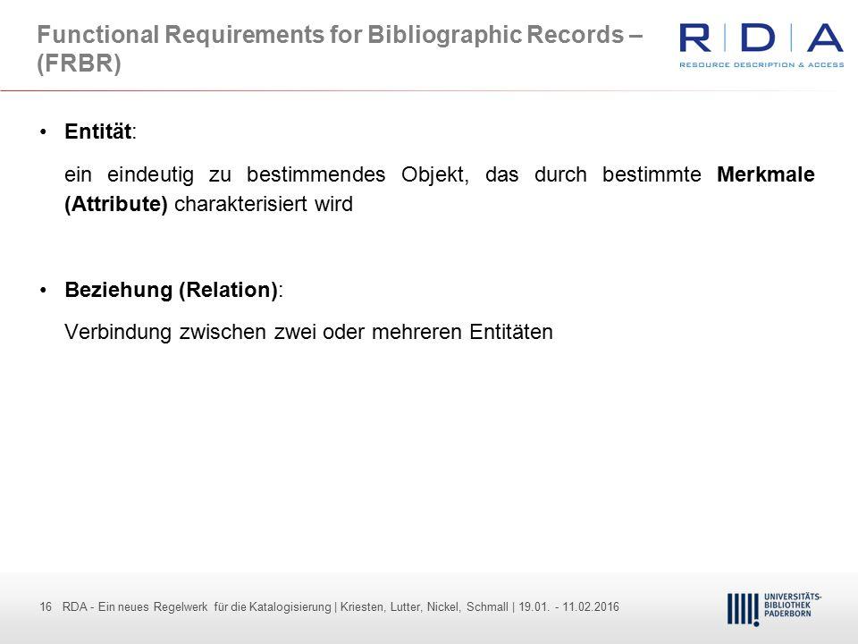 16 - Dr. Dietmar Haubfleisch – Die aktuellen Empfehlungen der DFG und des WR … – DBV, Sektion IV-Sitzung am 26.10.211 16 RDA - Ein neues Regelwerk für