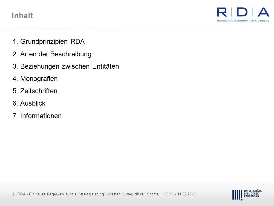 2 - Dr. Dietmar Haubfleisch – Die aktuellen Empfehlungen der DFG und des WR … – DBV, Sektion IV-Sitzung am 26.10.211 2 RDA - Ein neues Regelwerk für d