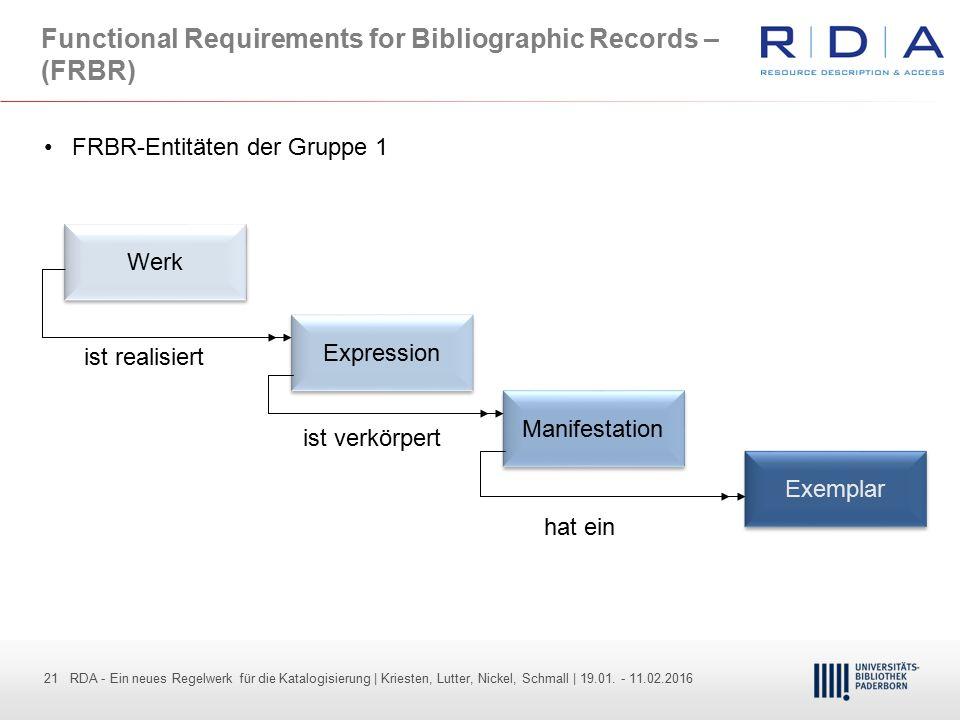 21 - Dr. Dietmar Haubfleisch – Die aktuellen Empfehlungen der DFG und des WR … – DBV, Sektion IV-Sitzung am 26.10.211 21 RDA - Ein neues Regelwerk für