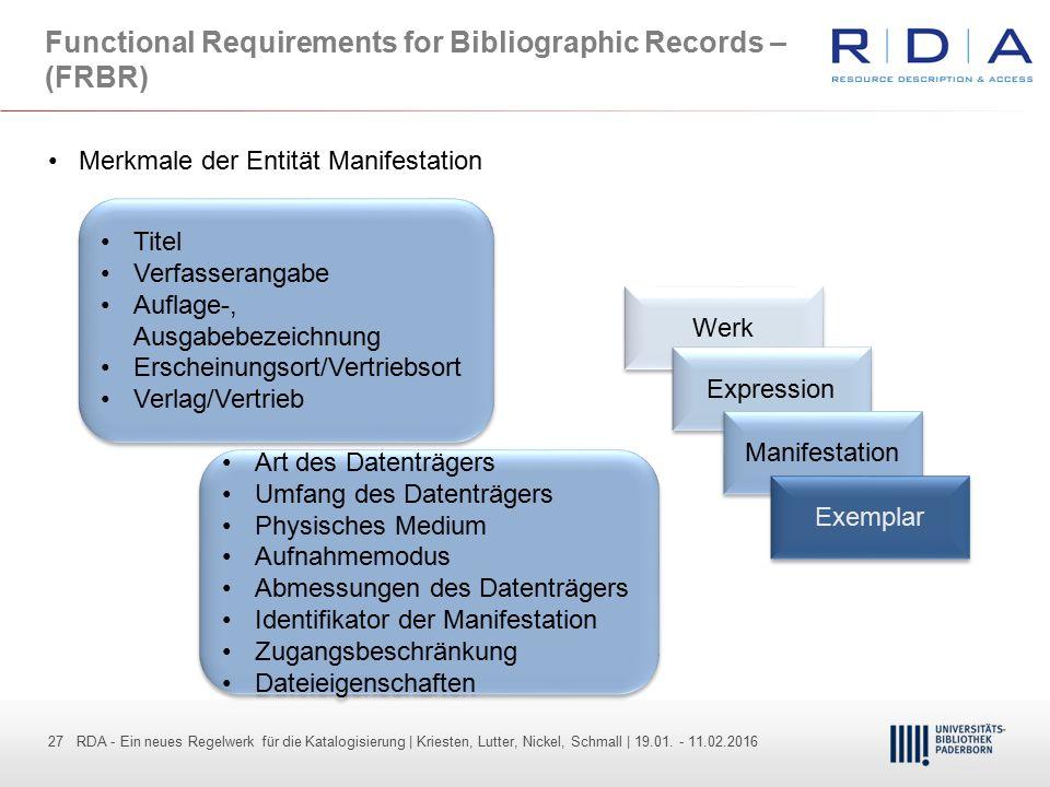 27 - Dr. Dietmar Haubfleisch – Die aktuellen Empfehlungen der DFG und des WR … – DBV, Sektion IV-Sitzung am 26.10.211 27 RDA - Ein neues Regelwerk für
