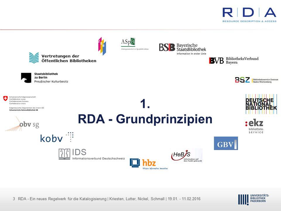 3 - Dr. Dietmar Haubfleisch – Die aktuellen Empfehlungen der DFG und des WR … – DBV, Sektion IV-Sitzung am 26.10.211 3 RDA - Ein neues Regelwerk für d