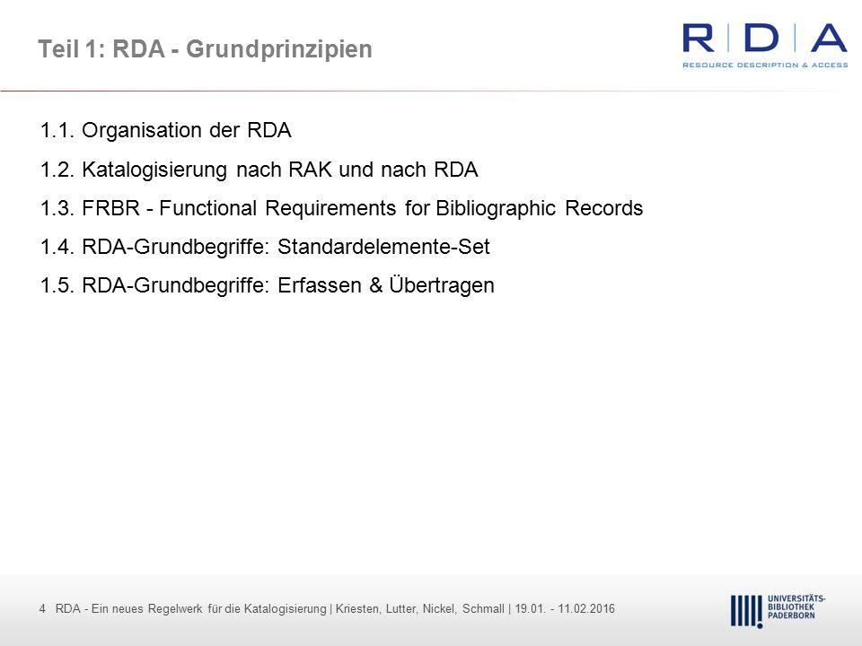 4 - Dr. Dietmar Haubfleisch – Die aktuellen Empfehlungen der DFG und des WR … – DBV, Sektion IV-Sitzung am 26.10.211 4 RDA - Ein neues Regelwerk für d