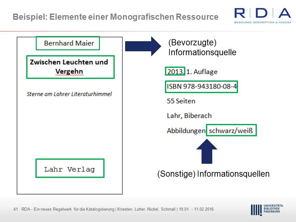 41 - Dr. Dietmar Haubfleisch – Die aktuellen Empfehlungen der DFG und des WR … – DBV, Sektion IV-Sitzung am 26.10.211 41 RDA - Ein neues Regelwerk für