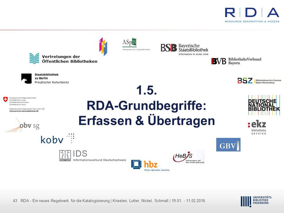 43 - Dr. Dietmar Haubfleisch – Die aktuellen Empfehlungen der DFG und des WR … – DBV, Sektion IV-Sitzung am 26.10.211 43 RDA - Ein neues Regelwerk für