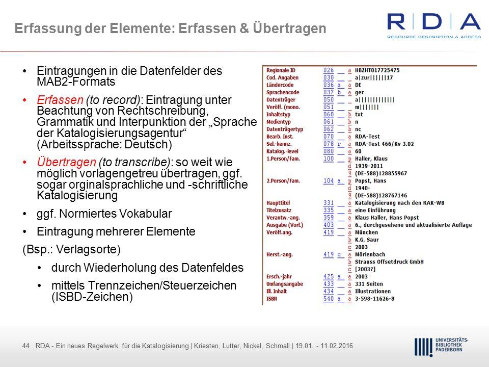 44 - Dr. Dietmar Haubfleisch – Die aktuellen Empfehlungen der DFG und des WR … – DBV, Sektion IV-Sitzung am 26.10.211 44 RDA - Ein neues Regelwerk für