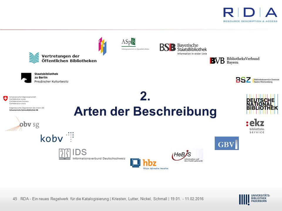 45 - Dr. Dietmar Haubfleisch – Die aktuellen Empfehlungen der DFG und des WR … – DBV, Sektion IV-Sitzung am 26.10.211 45 RDA - Ein neues Regelwerk für